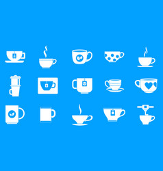 cup icon blue set vector image