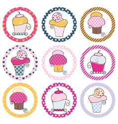 Cupcake tag set vector