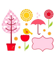 Cute garden elements vector image vector image