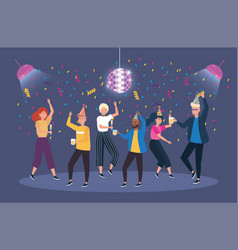 Cute women and men dancing with confetti vector