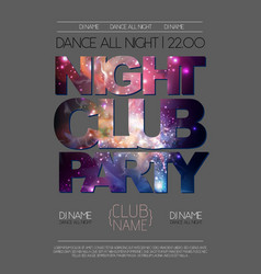 Disco night club poster on open space background vector