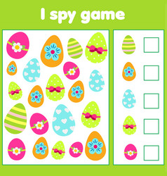 educational children game i spy sheet for vector image