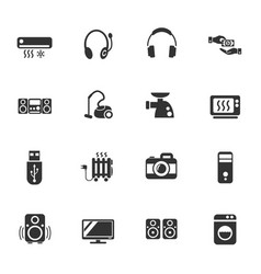 Electronics supermarket icon set vector
