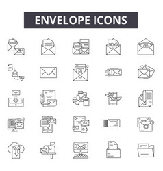envelope line icons for web and mobile design vector image