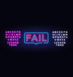 fail neon text fail neon sign design vector image