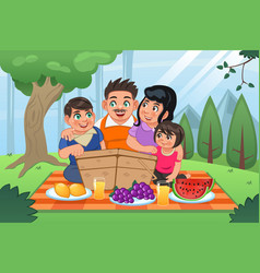 Family having picnic together vector