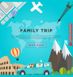 Family road traveling concept vector