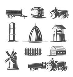farm collection black and white vector image