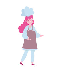female chef with hat apron cartoon isolated design vector image