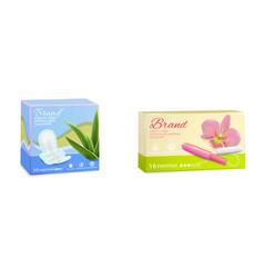 feminine hygiene tampon sanitary pads packaging vector image