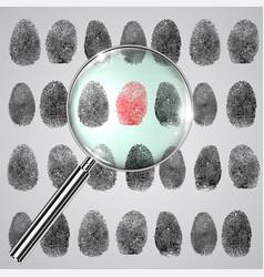 Fingerprint and a magnifier vector