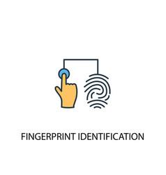 Fingerprint identification concept 2 colored line vector