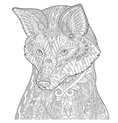 Fox adult coloring page vector