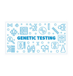 Genetic testing blue outline horizontal vector