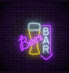Glowing neon beer pub signboard with arrow on vector