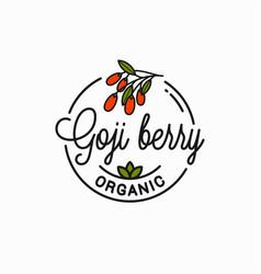 Goji berry logo round linear goji branch vector