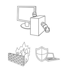 Hacker and hacking outline icons in set collection vector