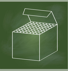 hand drawing chalk box on green board vector image