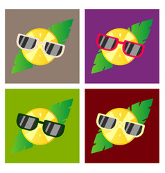 Hand drawn cool lemon with glasses isolated on vector