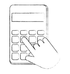 hands with calculator math isolated icon vector image