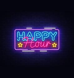 Happy hour neon sign design template happy vector