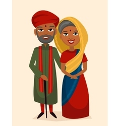 Happy indian middle aged couple isolated vector image