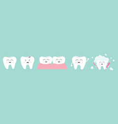 Healthy smiling white tooth icon set line vector