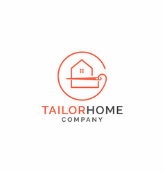 Home and tailor logo template sewing studio vector