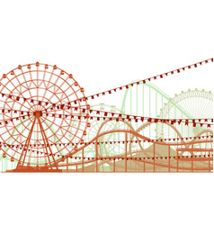 horizontal of roller coaster and ferris wheel vector image