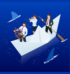 Isometric businessmen on paper boat business team vector