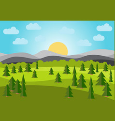 Landscape with field trees and mountains vector