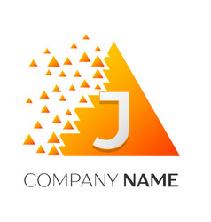letter j logo symbol on colorful triangle vector image