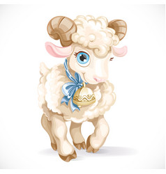 Little cute lamb isolated on a white background vector image