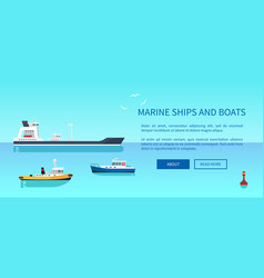 Marine ships and boats color vector