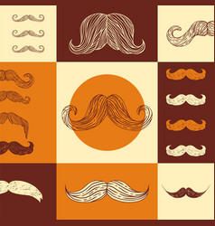 mustache pattern retro vector image