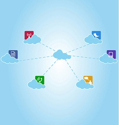 network system and communication clouds vector image vector image