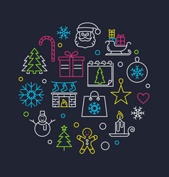 New year round outline or vector