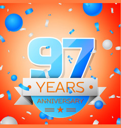 Ninety seven years anniversary celebration vector