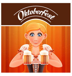 Octoberfest with woman and beer banner vector
