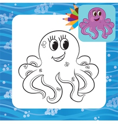 Octopus coloring page vector