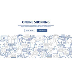 Online shopping banner design vector