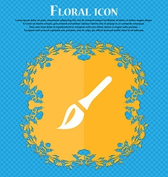 Paint brush Artist Floral flat design on a blue vector image