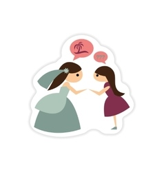 paper sticker on white background Bride with vector image vector image