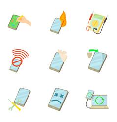 Phone repair icons set cartoon style vector