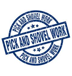 Pick and shovel work blue round grunge stamp vector