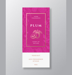 Plum home fragrance abstract label template vector