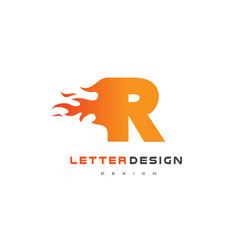 R letter flame logo design fire logo lettering vector