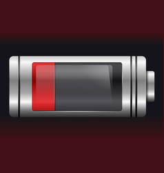 Red metal with glass battery low charge vector