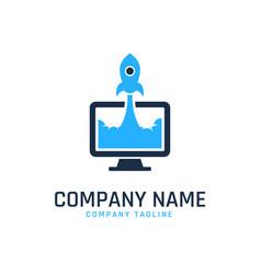 Rocket pc logo template vector