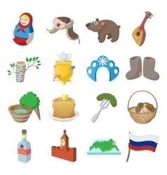 Russia cartoon icons vector image